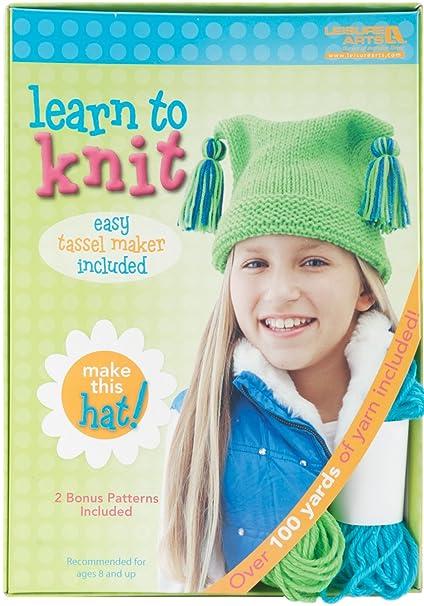 Amazon.com  LEISURE ARTS 46771 Learn to Knit Kit b92bb744920
