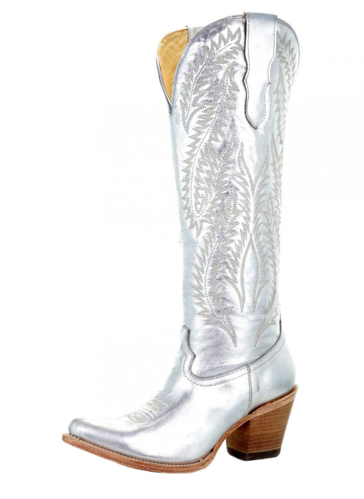 CORRAL E1321 Metallic Silver Tall Top Boots (9)