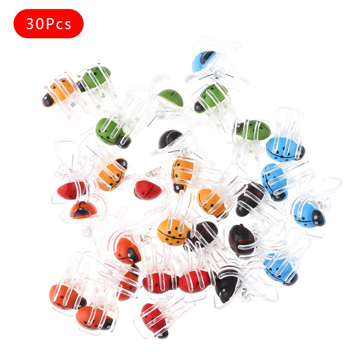 iEFiEL 30 Pack Cute Ladybug Orchid Clips Upright Supporter for Plant Stem Garden Flower Stalks Vines