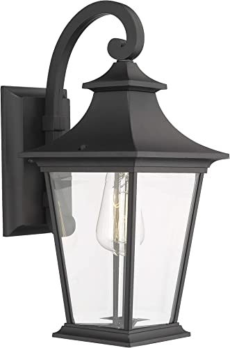Emliviar Outdoor Wall Lantern, 1-Light Exterior Wall Mount Light with Clear Glass in Black Finish, 18 Height, 500181