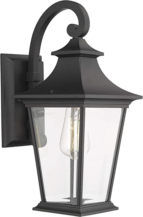 Emliviar Outdoor Wall Lantern 1 Light Exterior Wall Mount Light With Clear Glass In Black Finish 18 Height 500181 Amazon Com