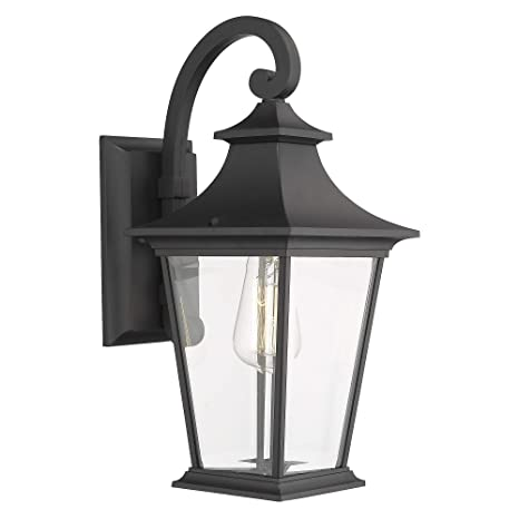 promo code 6bc16 172f4 Emliviar Outdoor Wall Lantern, 1-Light Exterior Wall Mount Light with Clear  Glass in Black Finish, 18