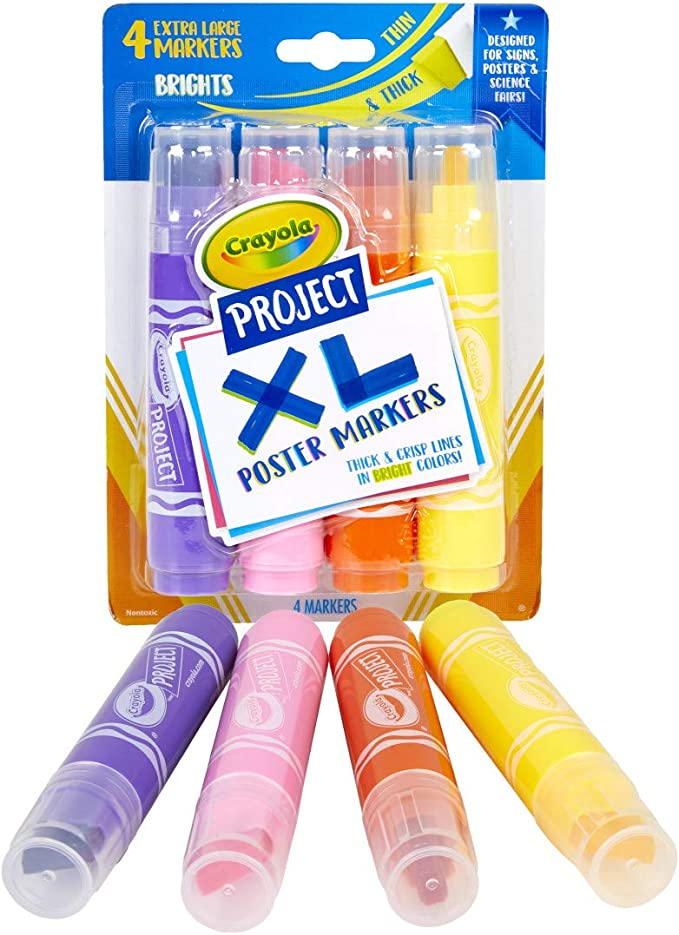 Crayola XL Poster Markers 4 Count School Supplies Assorted Classic Colors