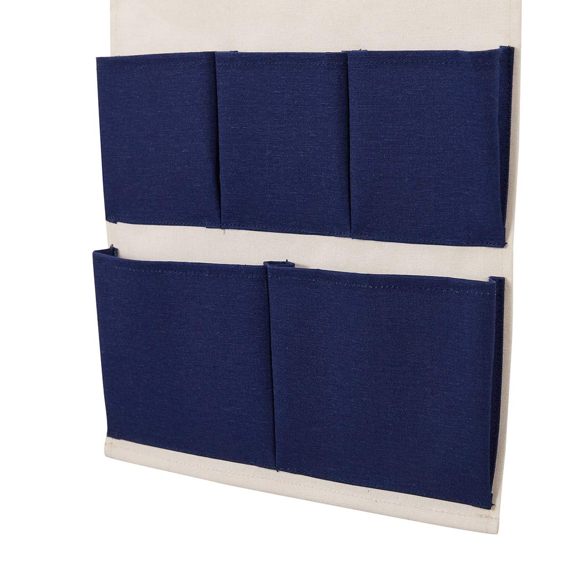 5-Pocket Every Deco Wall Door Hanging Mounted Storage Organization Compartment Pocket Fabric Wood Rope Room Bathroom Toiletry Newspaper Magazines Pastel