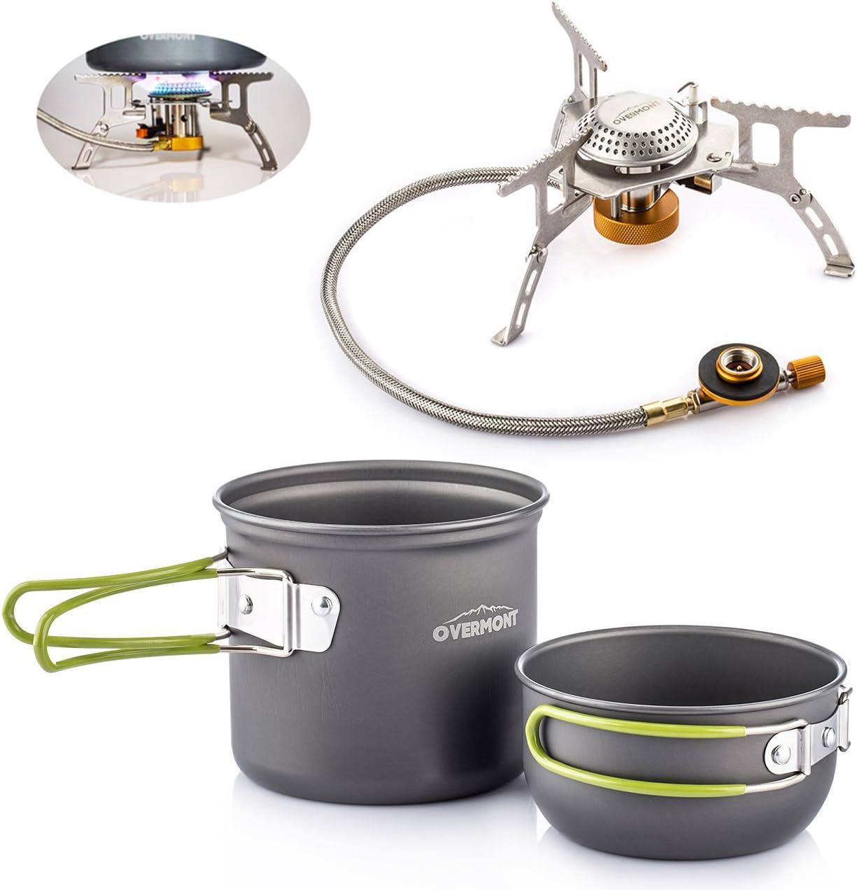 Overmont 2pics Kit de Utensilios de Cocina vajilla ollas para Camping Senderismo excursión al Aire Libre de Aluminio Hornillo Cocina Estufa Metal de ...