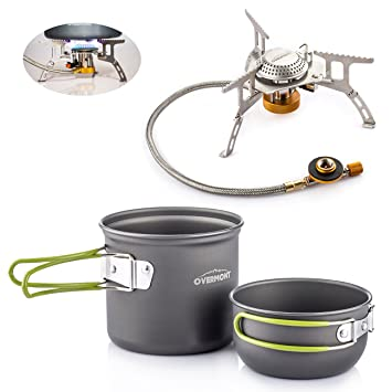 Overmont 2pics kit de utensilios de cocina vajilla ollas para camping senderismo excursión al aire libre de aluminio + Overmont Hornillo cocina ...