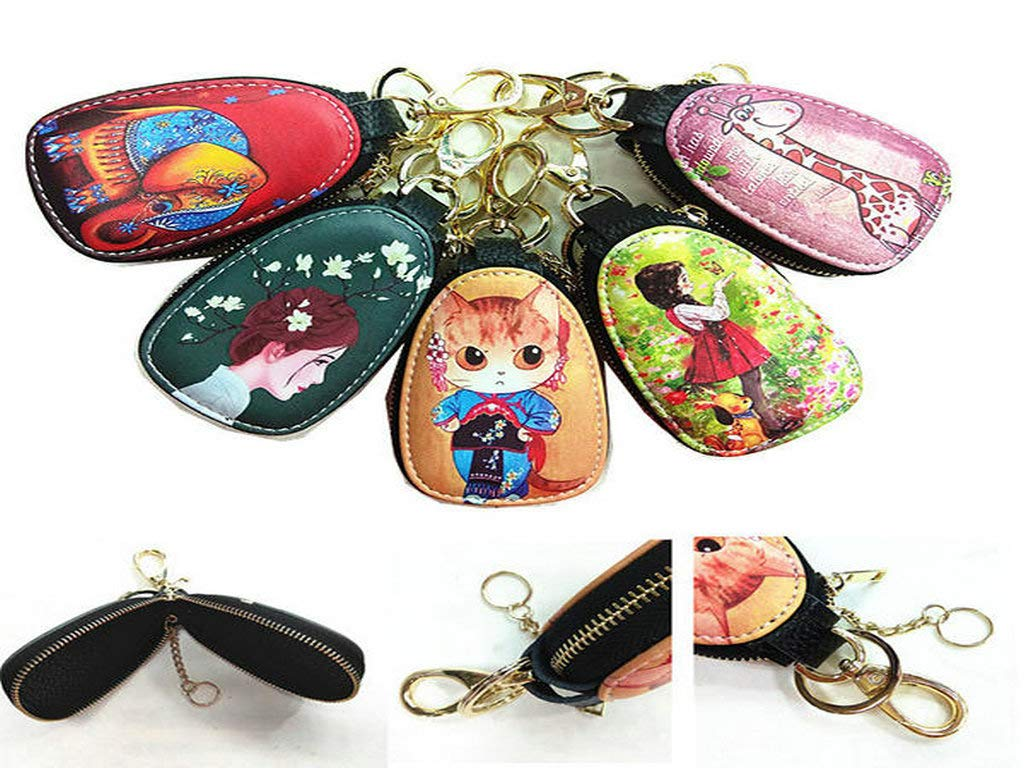Color : Color 11, Size : OneSize JXHJQY Women Faux Leather Car Key Bag Key Holder Print Leisure Wallet Coin Purse