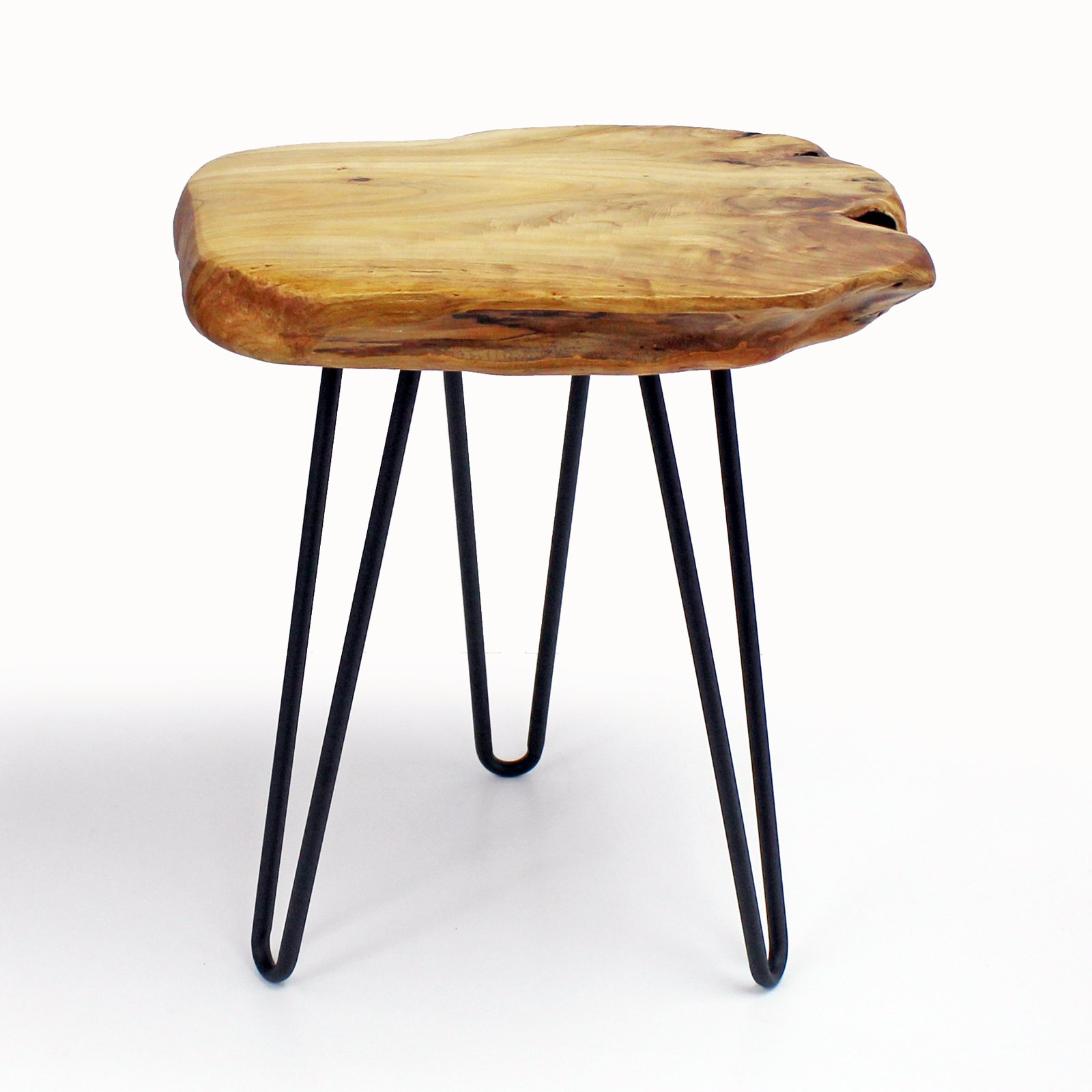 WELLAND Cedar Wood Stump Stool Unique Shape Rustic Surface Side Table With 3-Leg Metal Stand by WELLAND