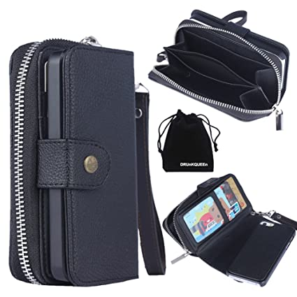 new product 5dd08 5d0ab DRUnKQUEEn iPhone SE Case, iPhone 5s Case, Premium Leather Zipper Wallet  Case Magnetic Removable Folio Flip Holster Purse Clutch Cover Card Holder  ...