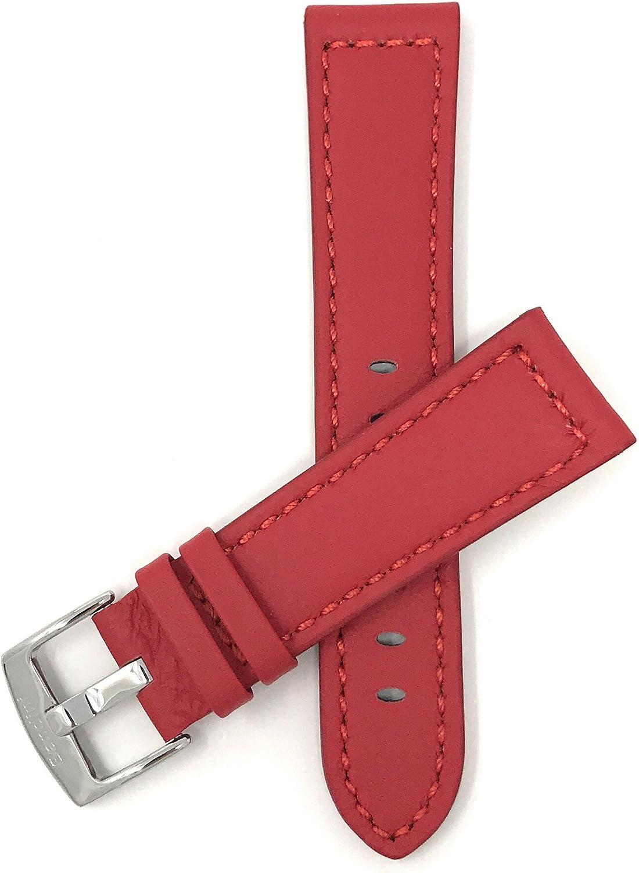 20mm - 28mm, Correa reloj de cuero auténtico, con costuras, hebilla de acero inoxidable, disponible en negro, jaula, rojo, marrón rojizo y marrón