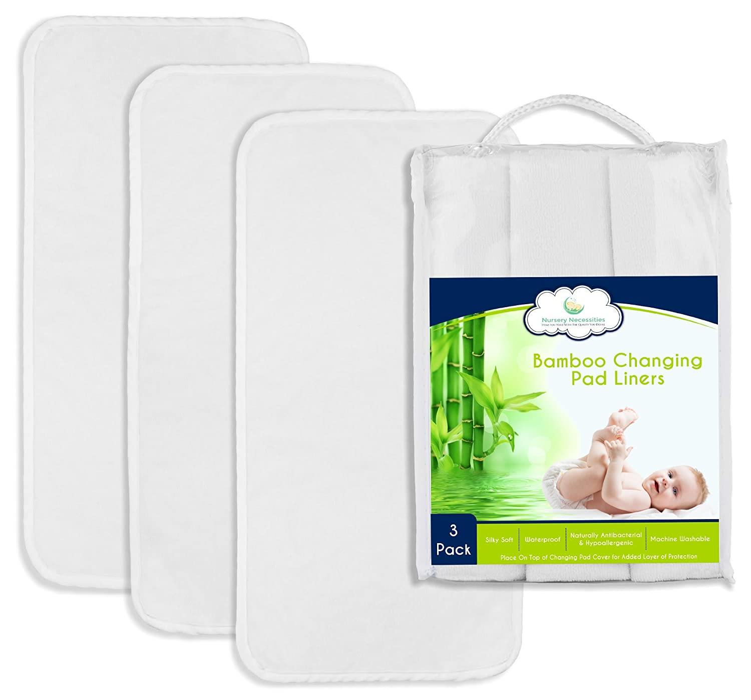 #1 BEST Bamboo Changing Pad Liners - 26.5 x 13 - 3 Pack - NEW & IMPROVED DESIGN - Waterproof, Antibacterial, Hypoallergenic, Machine Wash & Dry - By Nursery Necessities DWJ Products
