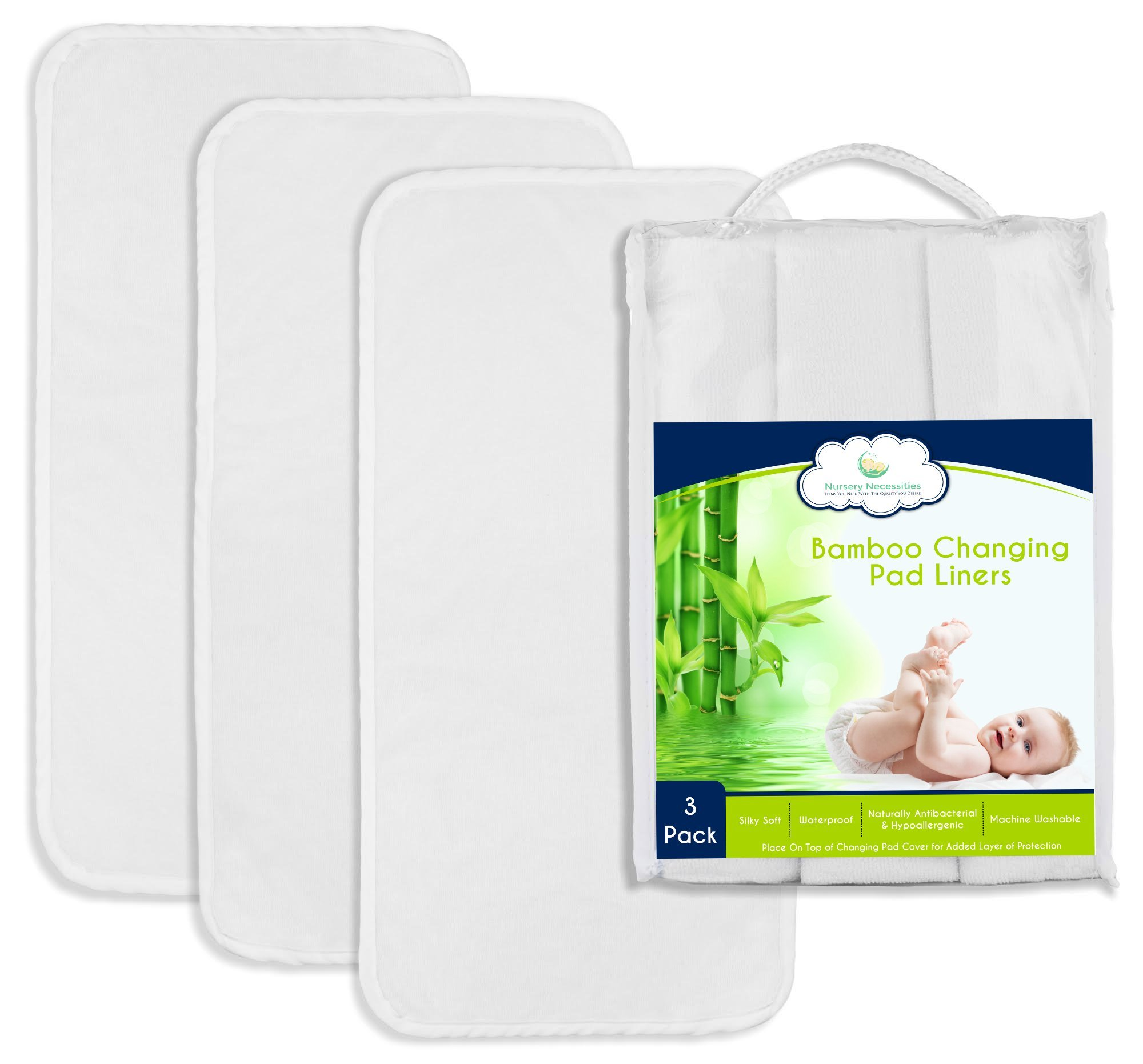 "Best NON-SLIDE Bamboo Changing Pad Liners - 3-Pack, Thicker & Highest Quality Fabric - 26.5"" x 13"" – Waterproof, Antibacterial, Hypoallergenic, Machine Wash & Dry – Nursery Necessities"