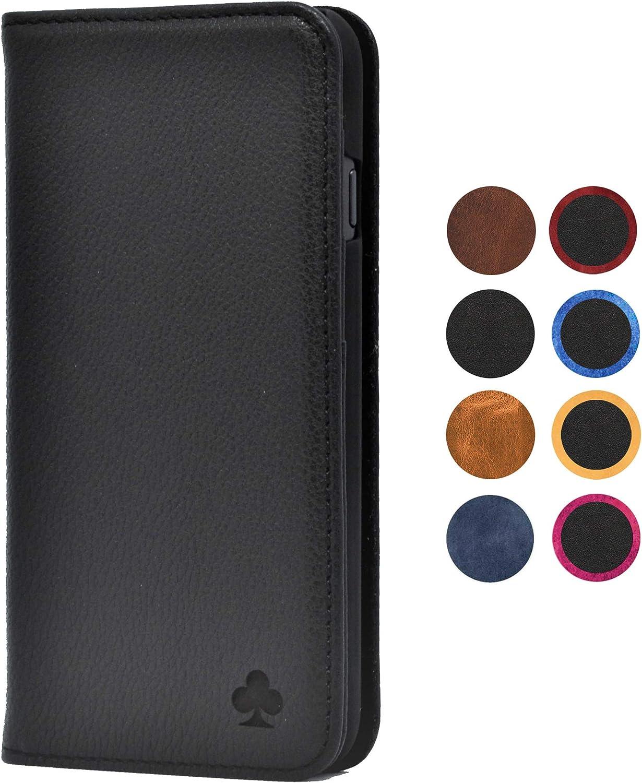 Porter Riley - Funda con Cartera para el iPhone 8 / iPhone 7. Funda/Flip/Soporte en Cuero Genuino (Negro Puro)