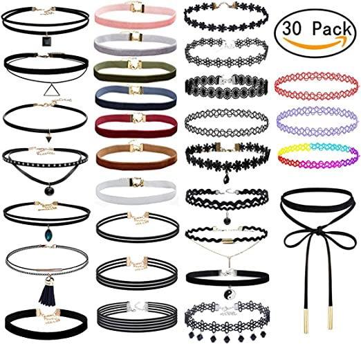 Meetlight choker collar conjunto gargantilla tatuaje g¨®tico collar de terciopelo de encaje ajustable para mujeres ni?as(30 Pcs): Amazon.es: Hogar