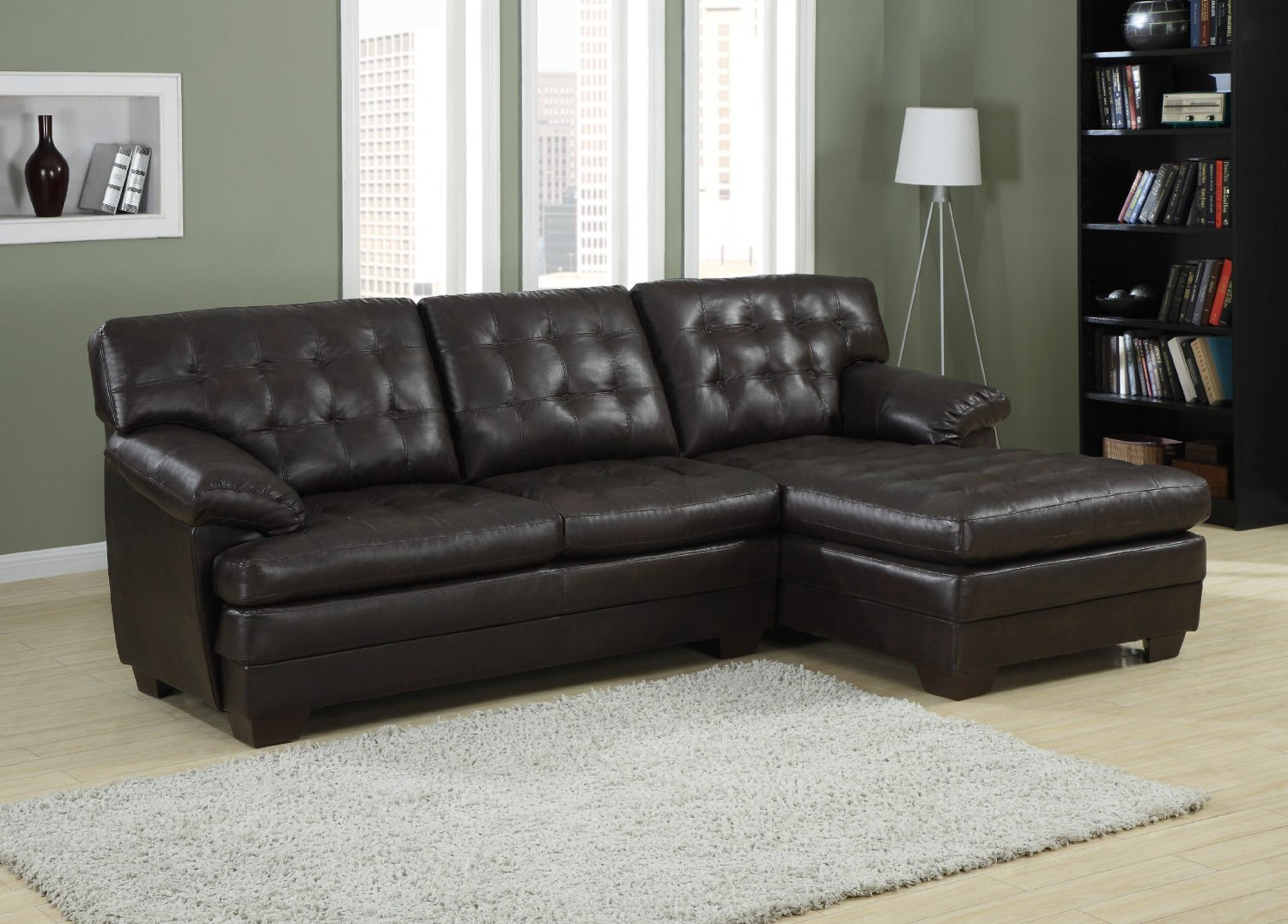 Amazon.com: Channel-Tufted 2 Piece Sectional Sofa Set in Dark Brown Bonded  Leather by Homelegance: Kitchen & Dining