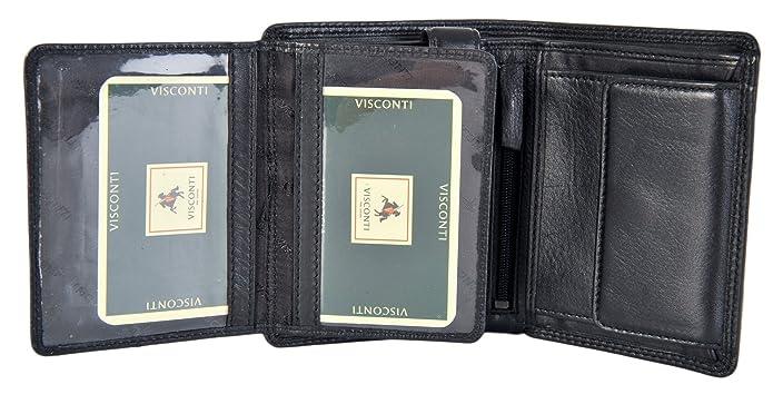 6c9363a52b Portafoglio Visconti Brixton In Pelle Nera Di Lusso Con Spazio Per 8 Carte  HT11 Best Seller: Amazon.it: Scarpe e borse