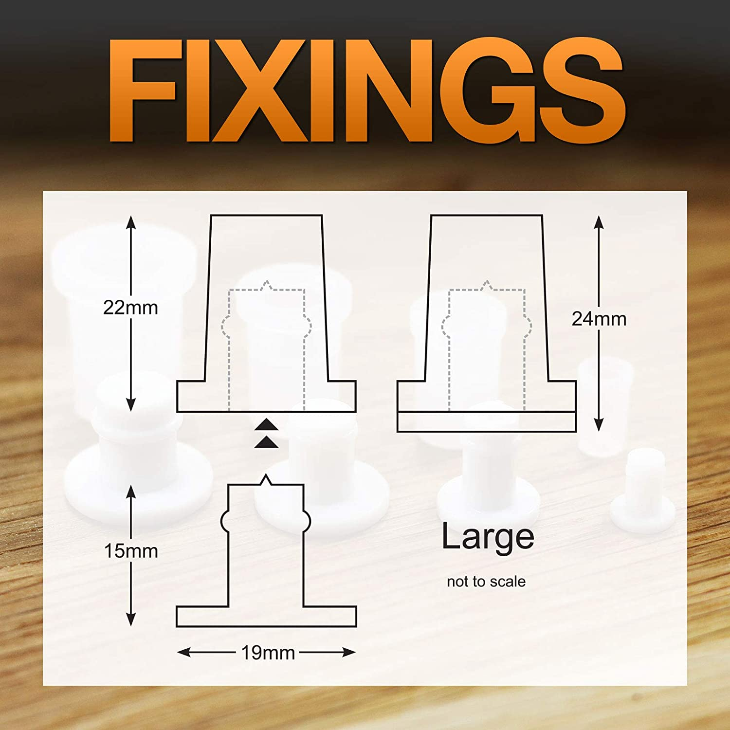 Stand-Off Fixings Large Nylon Plastic Sign locators Pack of 10