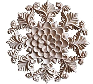 Xinshun Wood Carved Onlay Applique Unpainted Round Furniture Corner Carving Decal for Home Decor #3