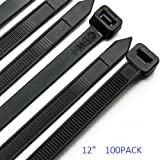 Cable Zip Ties Heavy Duty 12 Inch, Ultra Strong Plastic Wire Ties with 120 Pounds Tensile Strength, 100 Pieces, Nylon Tie Wraps with 0.3 Inch Width in Black & White, Indoor and Outdoor UV Resistant