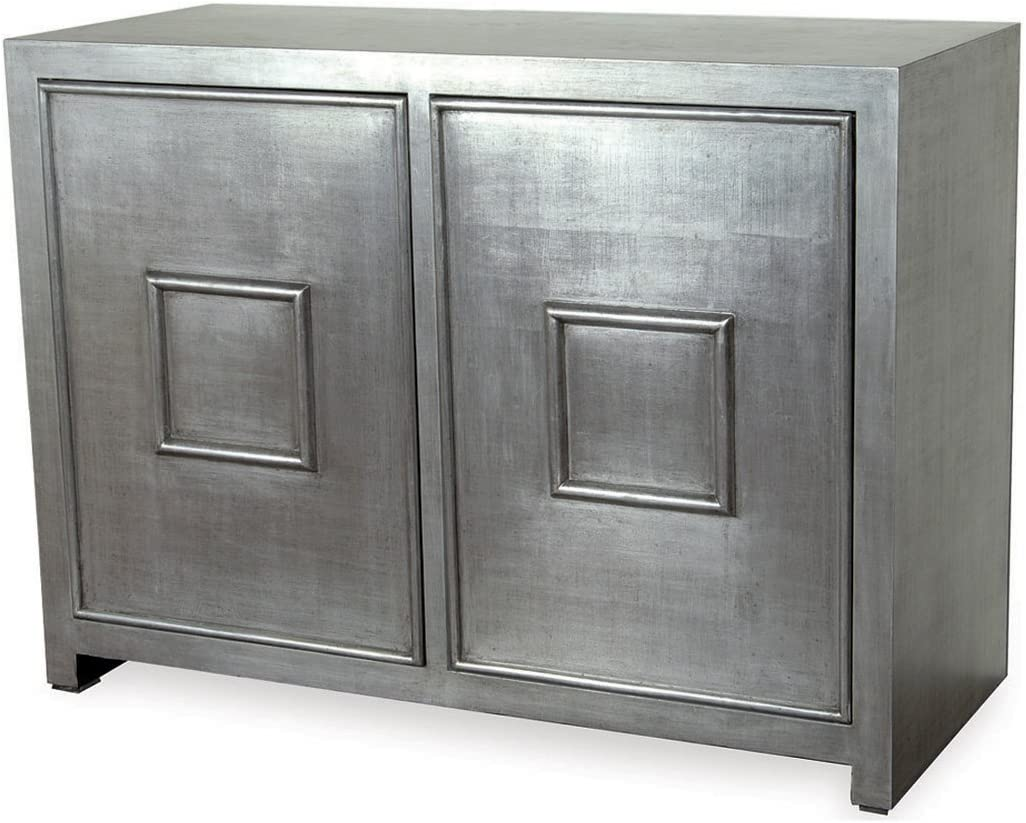 Kathy Kuo Home Park Avenue Hollywood Regency Style Silver Leaf Cabinet