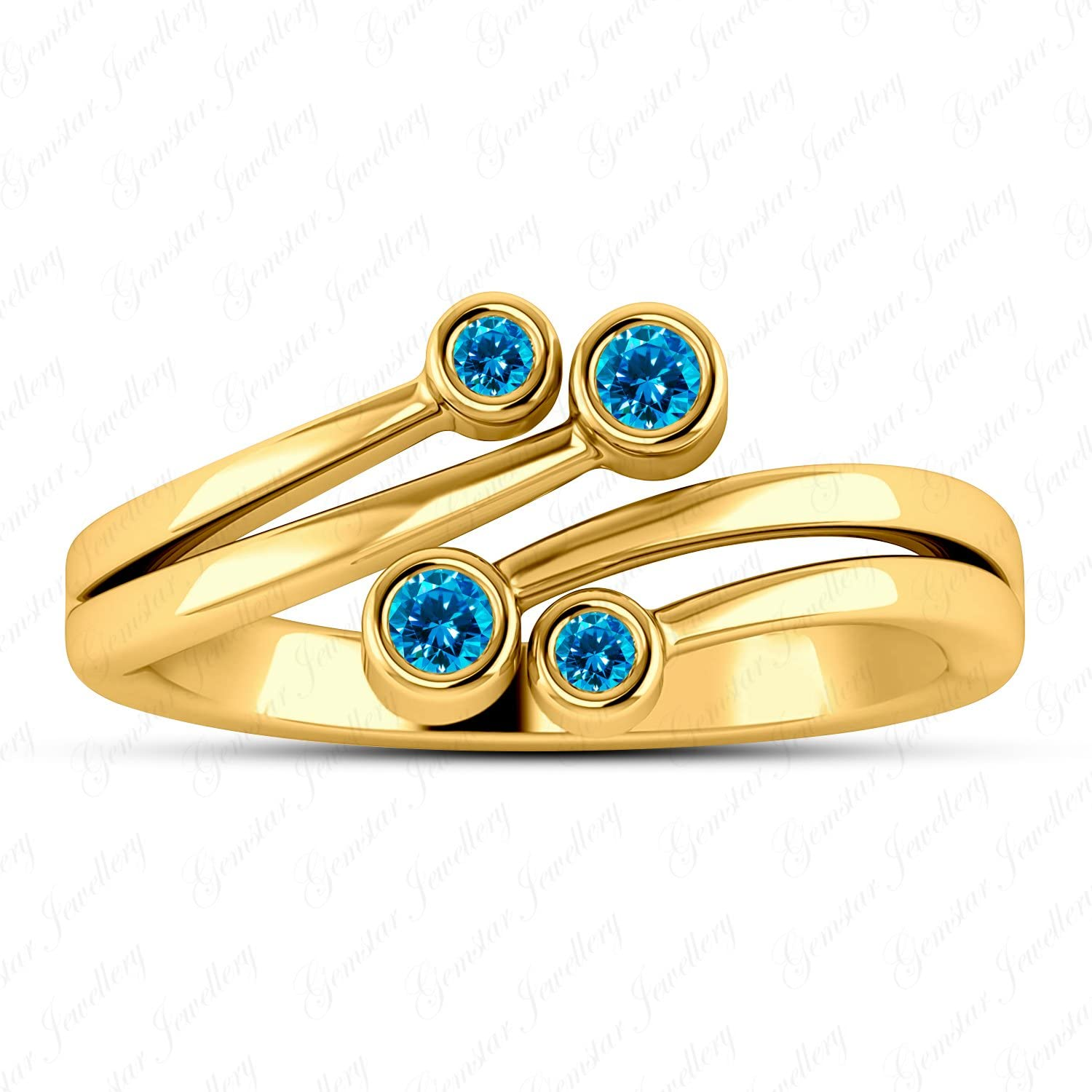 Gemstar Jewellery Brilliant Blue Topaz 14k Yellow Gold Filled Bypass Adjustable Toe Ring In 925 Silver