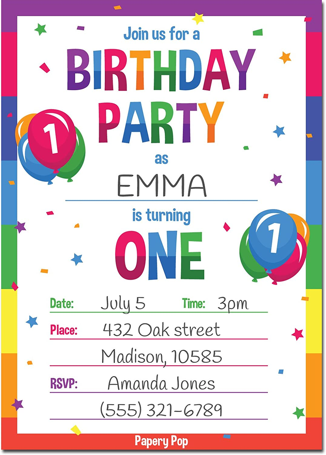 1st Birthday Party Invitations With Envelopes 15 Count 1