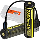 TWO PACK: Nitecore NL1826R 2600mAh High-Capacity 18650 Batteries with Built-In USB Charging Port (2x) & LumenTac Battery Organizer and USB Cord