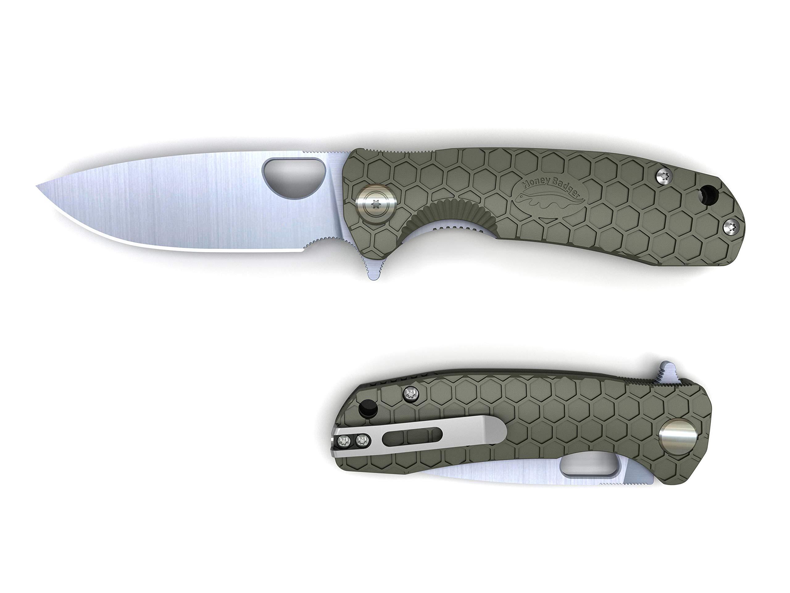 Honey Badger Folding Knife Ball Bearing Flipper Liner 8cr13MOV Blade FRN Handles Deep Pocket Carry in Gift Box incl Torx Wrench, 6.54'' Fullly Open, 3.7'' Closed, 2.81'' Blade, 2.57 Oz, Small, Green