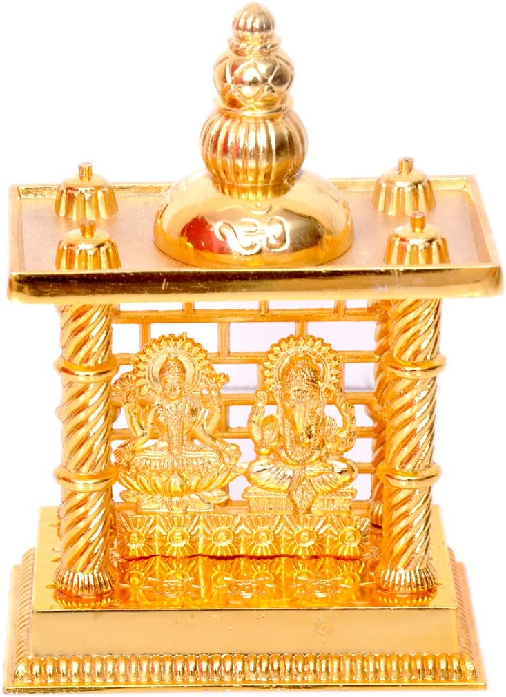 Hashcart (5 Inch Laxmi Ganesh Mandir- Brass Plated Especially for Diwali Puja and Gift Purpose