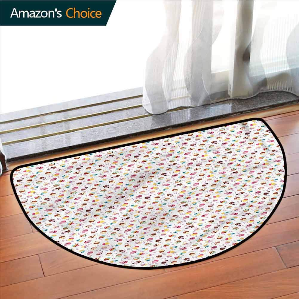 DESPKONMATS Dessert Bedroom Semi-Circular Rug, Yummy Cupcakes Sprinkled Rug Multi Colored, Phthalate Free, Rugs for Office Stand Up Desk, Half Circle-W43.3 x R23.6 INCH by DESPKONMATS