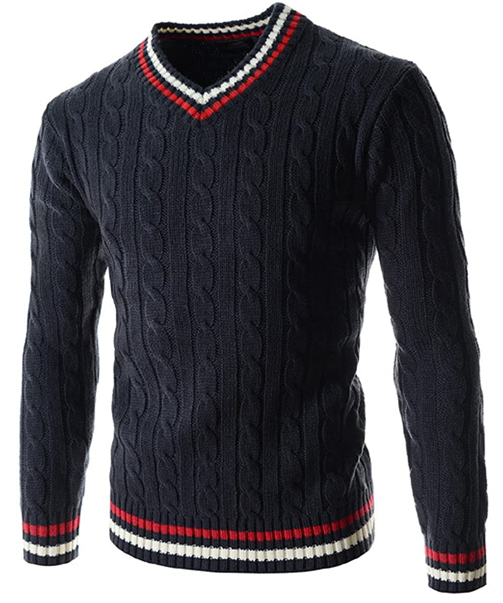 Men's Vintage Style Sweaters – 1920s to 1960s V-Neck Sweater Pull-over with Tipping  AT vintagedancer.com
