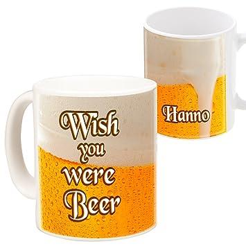 """c10c4df7f19 Geschenke 24: Becher – Wish you were beer (Spruch """"Wish you were"""