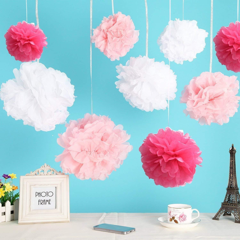 SUMERSHA Flower Ball Wedding Party Outdoor Decoration Premium Tissue Paper Pom Pom Flowers Craft Kit 18pcs Tissue Hanging Paper Pom-poms Pink/& White
