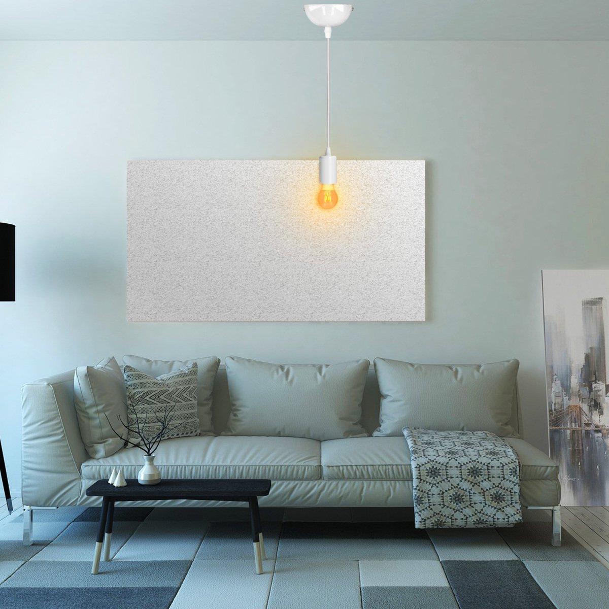 kwmobile Douille de lampe E27 Suspension luminaire plafond en m/étal Support de lampe plafonnier E27 fil textile noir /& blanc 90 cm et socle lampe