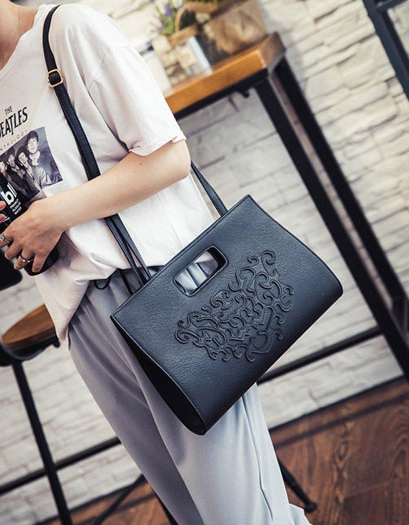 VRLEGEND Leather Top Handle Handbags Crossbody Shoulder Bag Tote Wallet Purse Evening Clutch Bag for Women (Black) by VRLEGEND (Image #7)