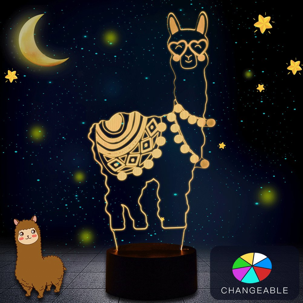 Alpaca Llama 3D Optical Illusion Lamp,WHATOOK Changeable Touch Sensor LED Night Light Perfect Gifts Toys for Children Kids Decor for Home Baby Room(Alpaca)