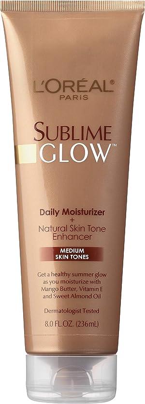 L'Oreal Paris Skincare Sublime Glow Daily Moisturizer and Natural Skin Tone Enhancer Medium Skin Tones, Sunless tanning lotion, 8 fl. oz.