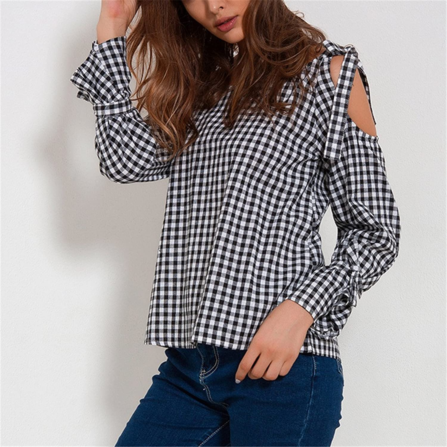 Cold Shoulder Tops For Women Blouses Spring Plaid Shirt Streetwear Long Sleeve Blouse With Bow at Amazon Womens Clothing store: