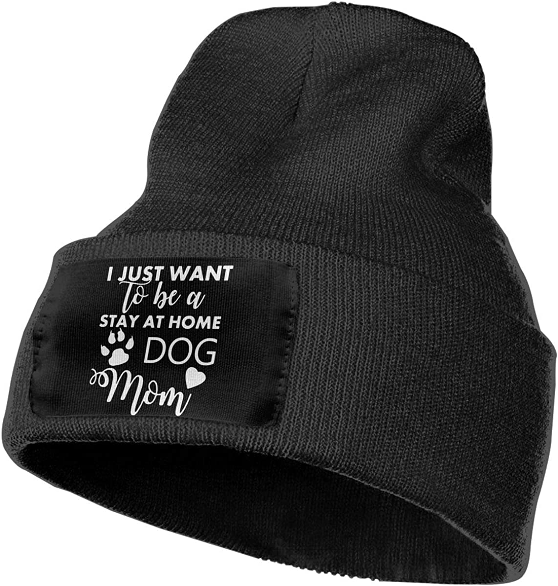 Unisex I Just Want to Be A Stay at Home Dog Mom Outdoor Stretch Knit Beanies Hat Soft Winter Knit Caps
