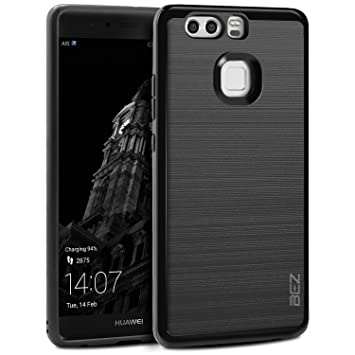 detailed look 9b0d1 b2033 Huawei P9 Case, BEZ® Ultra Slim Hybrid Shockproof Case Cover [Black] for  Huawei P9 - PC and Soft TPU, All-Around Shock Resistant