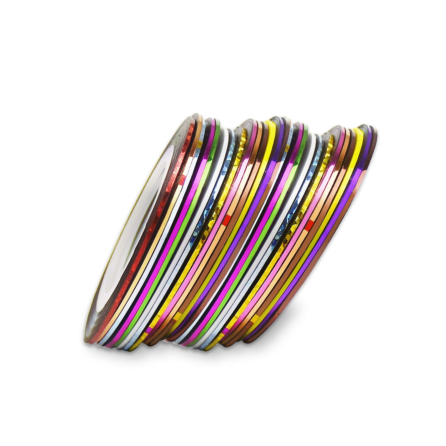 60 Pcs Nail Art Striping Tape, Mixed Colors Nail Art Decoration Stickers-30 Color Awpeye