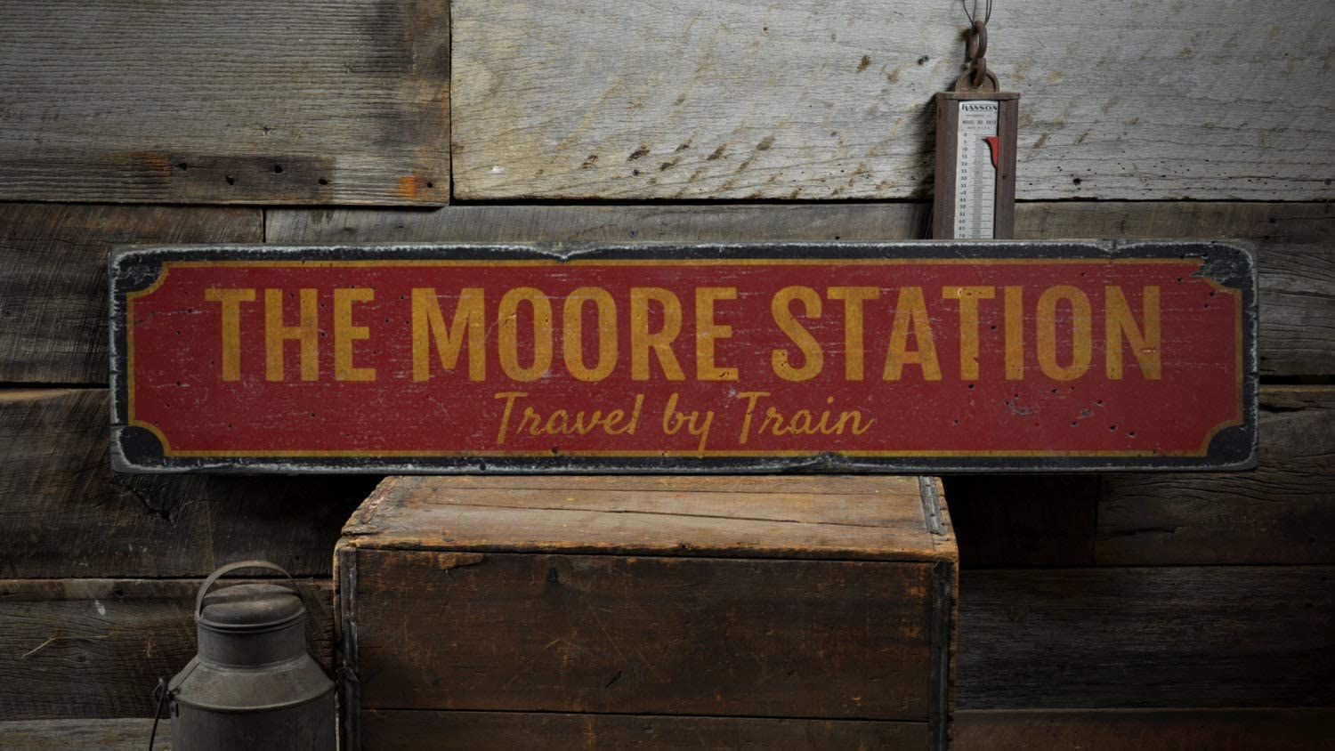 Family Train Station Wood Sign, Personalized Last Name Travel by Train Man Cave Home Decor - Rustic Hand Made Vintage Wooden Sign Home Decorations,Produced in The U.S.