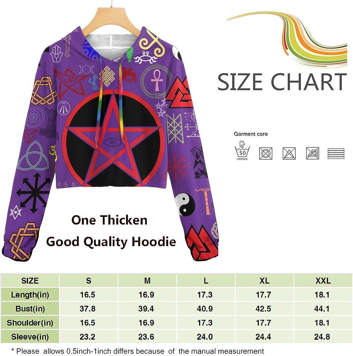 Red Purple Wicca Wiccan 5 Star Pentagram Pentacle Women Sweatshirt Casual Hoodie Tshirt T Hoodies Cropped Crop Tops