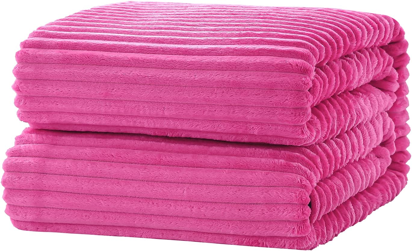 SE SOFTEXLY Striped Fleece Blankets, Soft Warmer Throw Blankets for All Season, Lightweight Microfiber Flannel Blanket Suit for Home Bed, Sofa & Dorm(Pink Purple, 50×60)
