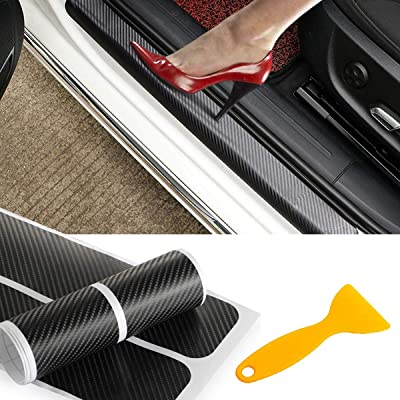 PAMISO 4pcs Car Door Sill Scuff Guard, Welcome Pedal Protect, Anti-kick Scratch for Cars Doors: Automotive