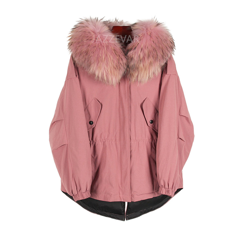 Joddie Haha winter Women's down jacket oversize Dovetail down coat large real raccoon fur Hooded Parka pink 2 L