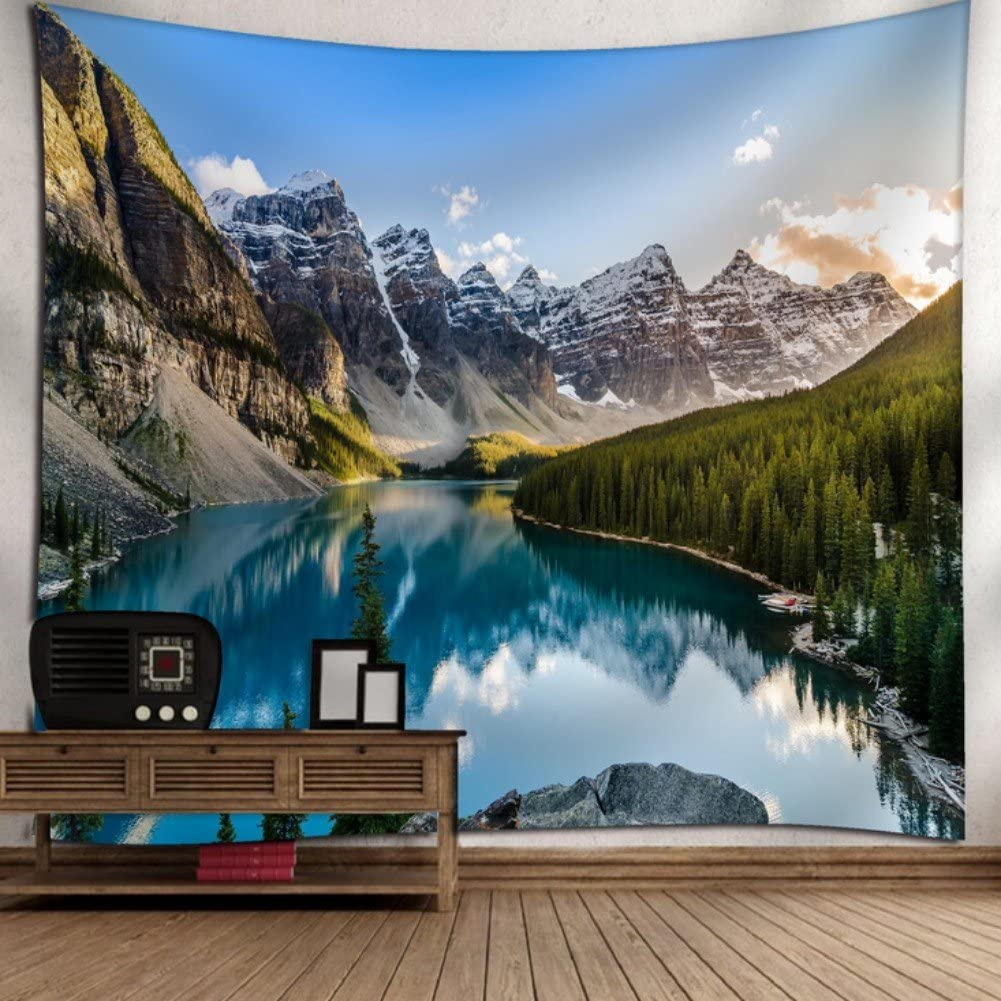 """KRWHTS New Mountain Nature Tapestry Grand Teton Snowy Mountains Lake Tree Landscape Wall Hanging Tapestry - Cotton Polyester Fabric Wall Art 150130cm(60"""" 52"""")"""