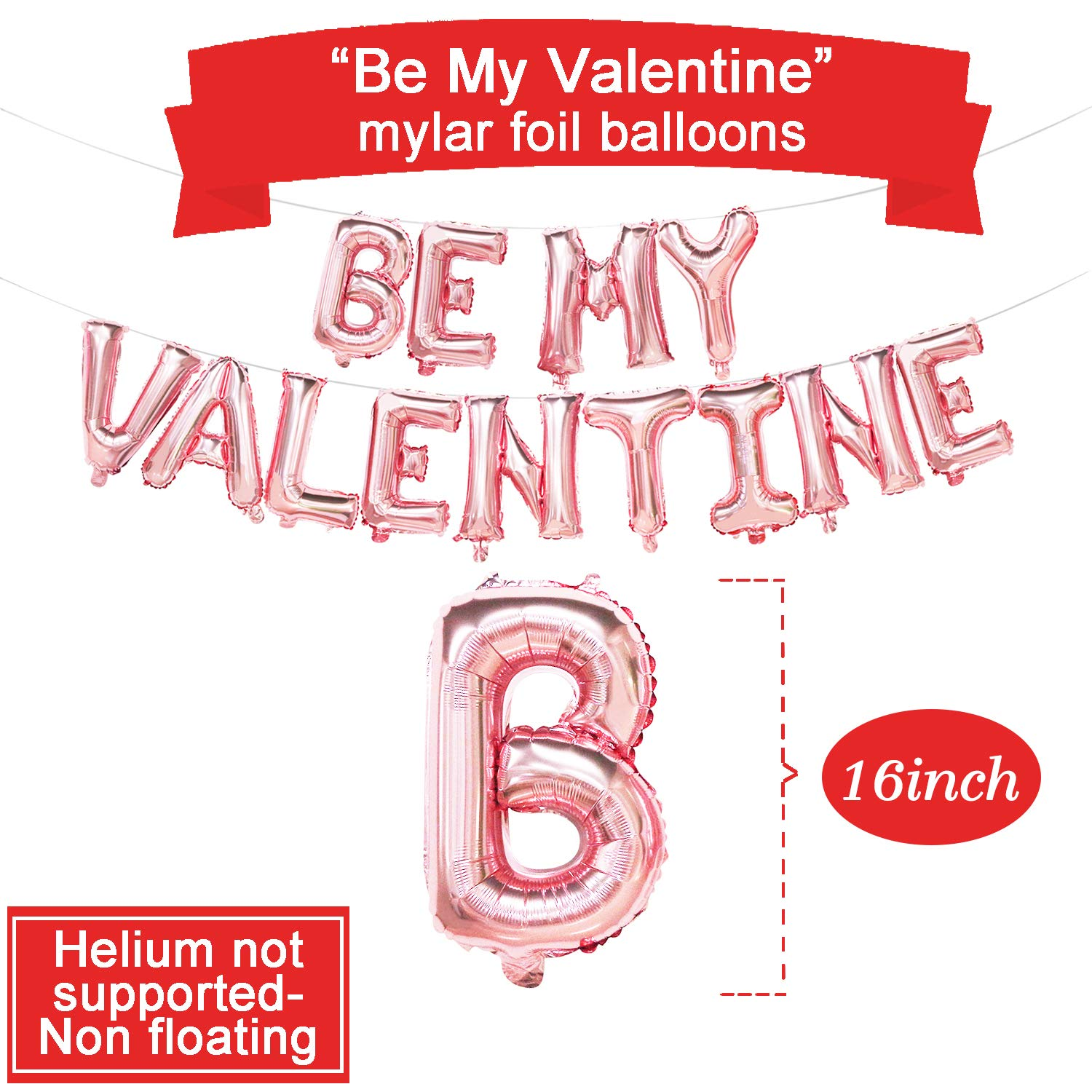 Rose Gold Be My Valentine Balloon Banner Valentines Balloons Decorations Party Balloons for Valentines Day Red and White Heart Printed Latex Balloons