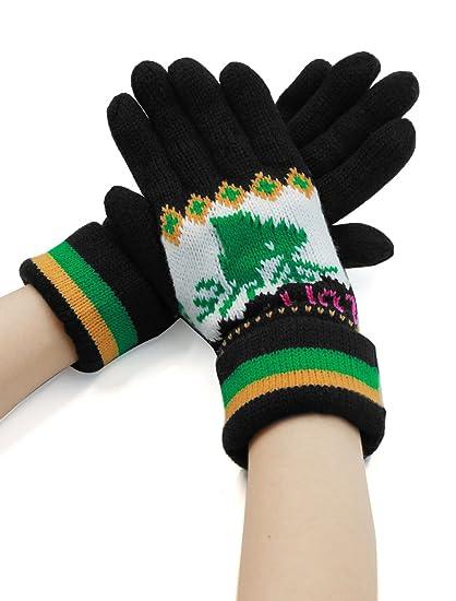 Sourcingmap Lady Deer Pattern Roll Up Cuffs Five Fingers Knitting