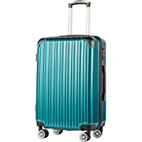 """Coolife Luggage Expandable(only 28"""") Suitcase PC+ABS Spinner 20in 24in 28in Carry on (green new, S(20in)_carry on)"""